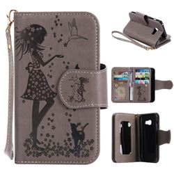 Embossing Cat Girl 9 Card Leather Wallet Case for Samsung Galaxy A3 2017 A320 - Gray