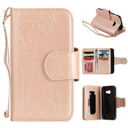 Embossing Cat Girl 9 Card Leather Wallet Case for Samsung Galaxy A3 2017 A320 - Gold