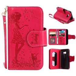 Embossing Cat Girl 9 Card Leather Wallet Case for Samsung Galaxy A3 2017 A320 - Red