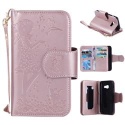 Embossing Cat Girl 9 Card Leather Wallet Case for Samsung Galaxy A3 2017 A320 - Rose Gold