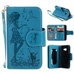 Embossing Cat Girl 9 Card Leather Wallet Case for Samsung Galaxy A3 2017 A320 - Blue