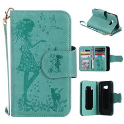 Embossing Cat Girl 9 Card Leather Wallet Case for Samsung Galaxy A3 2017 A320 - Green