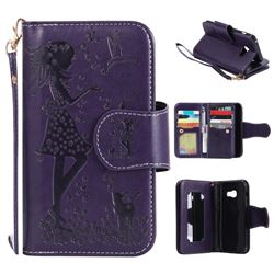 Embossing Cat Girl 9 Card Leather Wallet Case for Samsung Galaxy A3 2017 A320 - Purple