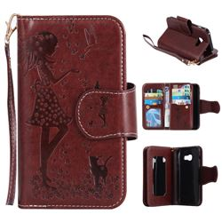 Embossing Cat Girl 9 Card Leather Wallet Case for Samsung Galaxy A3 2017 A320 - Brown