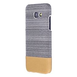Canvas Cloth Coated Plastic Back Cover for Samsung Galaxy A3 2017 A320 - Light Grey