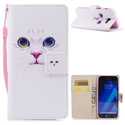 White Cat PU Leather Wallet Case for Samsung Galaxy A3 2017 A320
