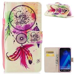 Feather Wind Chimes PU Leather Wallet Case for Samsung Galaxy A3 2017 A320