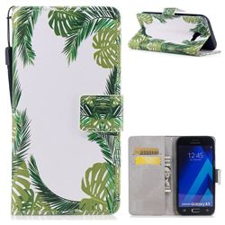 Green Leaves PU Leather Wallet Case for Samsung Galaxy A3 2017 A320