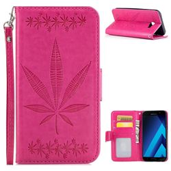 Intricate Embossing Maple Leather Wallet Case for Samsung Galaxy A3 2017 A320 - Rose