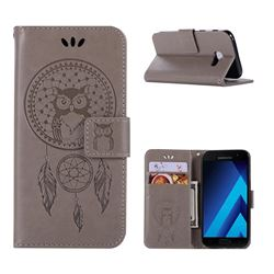 Intricate Embossing Owl Campanula Leather Wallet Case for Samsung Galaxy A3 2017 A320 - Grey