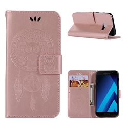 Intricate Embossing Owl Campanula Leather Wallet Case for Samsung Galaxy A3 2017 A320 - Rose Gold