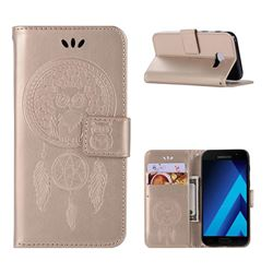 Intricate Embossing Owl Campanula Leather Wallet Case for Samsung Galaxy A3 2017 A320 - Champagne