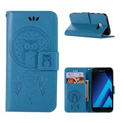 Intricate Embossing Owl Campanula Leather Wallet Case for Samsung Galaxy A3 2017 A320 - Blue