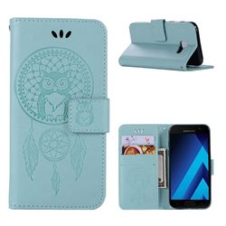 Intricate Embossing Owl Campanula Leather Wallet Case for Samsung Galaxy A3 2017 A320 - Green