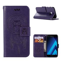 Intricate Embossing Owl Campanula Leather Wallet Case for Samsung Galaxy A3 2017 A320 - Purple