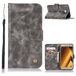 Luxury Retro Leather Wallet Case for Samsung Galaxy A3 2017 A320 - Gray