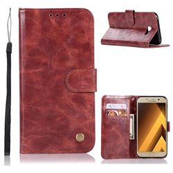 Luxury Retro Leather Wallet Case for Samsung Galaxy A3 2017 A320 - Wine Red