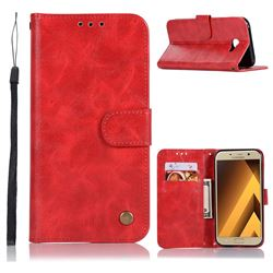 Luxury Retro Leather Wallet Case for Samsung Galaxy A3 2017 A320 - Red