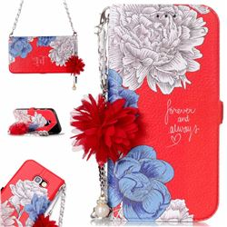 Red Chrysanthemum Endeavour Florid Pearl Flower Pendant Metal Strap PU Leather Wallet Case for Samsung Galaxy A3 2017 A320