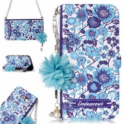 Blue-and-White Endeavour Florid Pearl Flower Pendant Metal Strap PU Leather Wallet Case for Samsung Galaxy A3 2017 A320