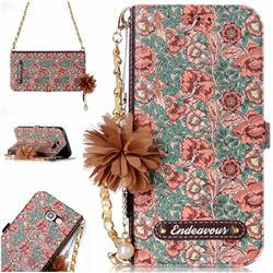 Impatiens Endeavour Florid Pearl Flower Pendant Metal Strap PU Leather Wallet Case for Samsung Galaxy A3 2017 A320