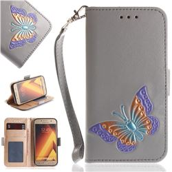 Imprint Embossing Butterfly Leather Wallet Case for Samsung Galaxy A3 2017 A320 - Grey