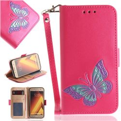 Imprint Embossing Butterfly Leather Wallet Case for Samsung Galaxy A3 2017 A320 - Rose Red