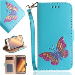 Imprint Embossing Butterfly Leather Wallet Case for Samsung Galaxy A3 2017 A320 - Sky Blue
