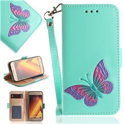 Imprint Embossing Butterfly Leather Wallet Case for Samsung Galaxy A3 2017 A320 - Mint Green