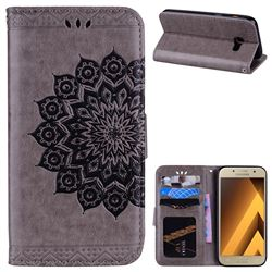 Datura Flowers Flash Powder Leather Wallet Holster Case for Samsung Galaxy A3 2017 A320 - Gray