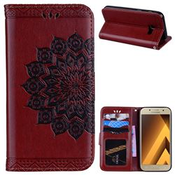 Datura Flowers Flash Powder Leather Wallet Holster Case for Samsung Galaxy A3 2017 A320 - Brown