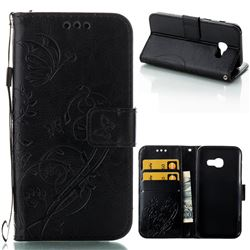 Embossing Butterfly Flower Leather Wallet Case for Samsung Galaxy A3 2017 A320 - Black