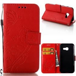 Embossing Butterfly Flower Leather Wallet Case for Samsung Galaxy A3 2017 A320 - Red