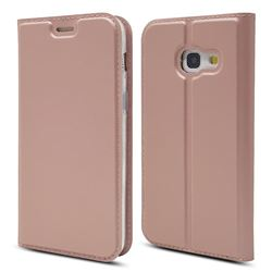 Ultra Slim Card Magnetic Automatic Suction Leather Wallet Case for Samsung Galaxy A3 2017 A320 - Rose Gold