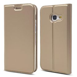 Ultra Slim Card Magnetic Automatic Suction Leather Wallet Case for Samsung Galaxy A3 2017 A320 - Champagne