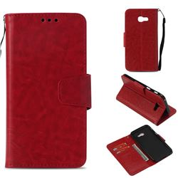 Retro Phantom Smooth PU Leather Wallet Holster Case for Samsung Galaxy A3 2017 A320 - Red