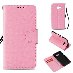 Retro Phantom Smooth PU Leather Wallet Holster Case for Samsung Galaxy A3 2017 A320 - Pink