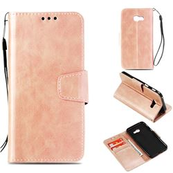 Retro Phantom Smooth PU Leather Wallet Holster Case for Samsung Galaxy A3 2017 A320 - Rose Gold