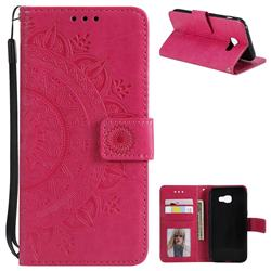 Intricate Embossing Datura Leather Wallet Case for Samsung Galaxy A3 2017 A320 - Rose Red