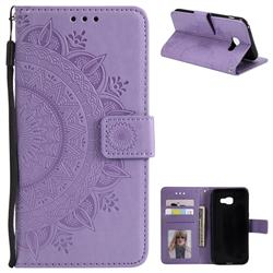Intricate Embossing Datura Leather Wallet Case for Samsung Galaxy A3 2017 A320 - Purple