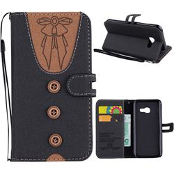 Ladies Bow Clothes Pattern Leather Wallet Phone Case for Samsung Galaxy A3 2017 A320 - Black