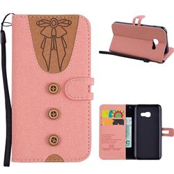 Ladies Bow Clothes Pattern Leather Wallet Phone Case for Samsung Galaxy A3 2017 A320 - Pink