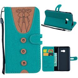 Ladies Bow Clothes Pattern Leather Wallet Phone Case for Samsung Galaxy A3 2017 A320 - Green