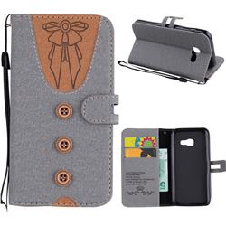 Ladies Bow Clothes Pattern Leather Wallet Phone Case for Samsung Galaxy A3 2017 A320 - Gray