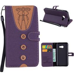 Ladies Bow Clothes Pattern Leather Wallet Phone Case for Samsung Galaxy A3 2017 A320 - Purple