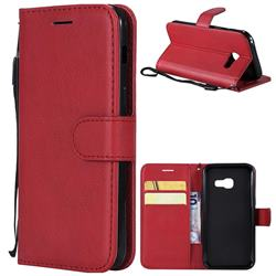 Retro Greek Classic Smooth PU Leather Wallet Phone Case for Samsung Galaxy A3 2017 A320 - Red