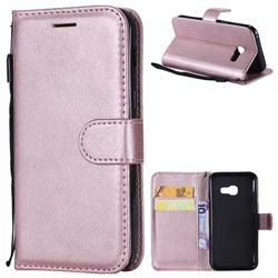 Retro Greek Classic Smooth PU Leather Wallet Phone Case for Samsung Galaxy A3 2017 A320 - Rose Gold