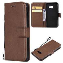 Retro Greek Classic Smooth PU Leather Wallet Phone Case for Samsung Galaxy A3 2017 A320 - Brown