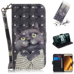 Cat Embrace 3D Painted Leather Wallet Phone Case for Samsung Galaxy A3 2017 A320