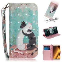 Black and White Cat 3D Painted Leather Wallet Phone Case for Samsung Galaxy A3 2017 A320